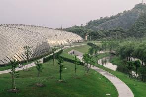 Constructions dans le jardin botanique Shanghai, Chine